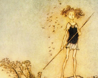Fairy Girl Sentinel Shakespeare Arthur Rackham Vintage Children's Nursery Lithograph Art Print To Frame