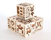 5 Invader Cubes in Solid Maple Hardwood