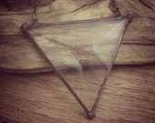 Beveled Stained Glass Geometric Pendant - Triangle
