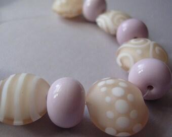 Lampwork Beads Peach Pink Handmade Glass Glowy Peachy Pink Lentils (11)