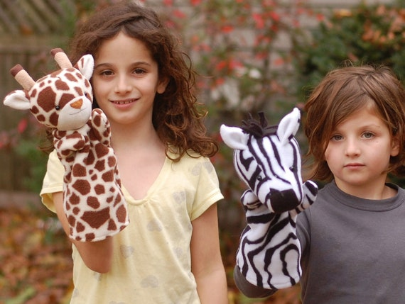 Jungle Hand Puppets to Sew- Zebra, Giraffe, and Leopard 3-in-1 PDF Sewing Pattern