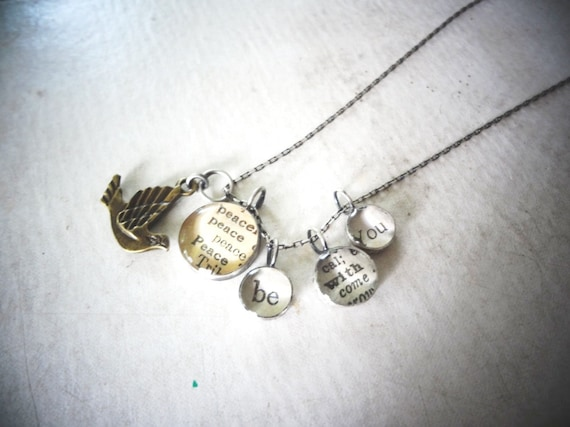 eco jewelry - sterling silver bird peace necklace