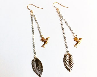 A Gift to Stevie Nicks- Brass Birds and silver leaves dangle earrings by niceLena