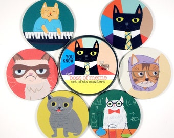The Boss of Meme coaster set All the Best Internet viral kitty cats YOU CAN HAS 6 six coasters in matching tin