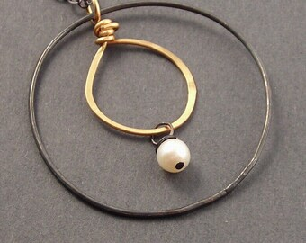 Did You Hear About Pluto, White Freshwater Pearl, 14k Gold Fill, Oxidized Sterling Silver, Mixed Metals Necklace, erinelizabeth