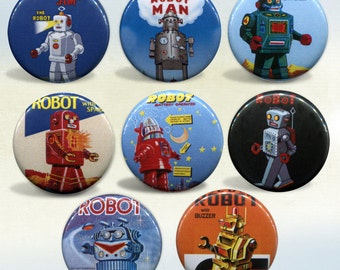 Retro Robots badges Set of 8 pin back buttons