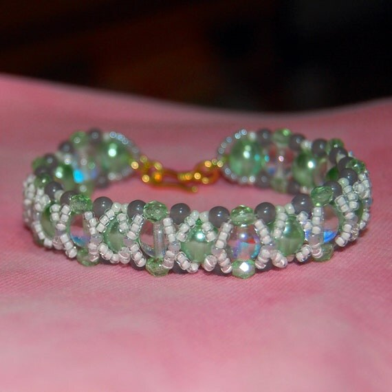 Mint Green Bracelet; Beadwoven with White, Crystal AB, and Gray Firepolished Beads