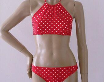High Neck Halter Bikini Top and Full Coverage Bikini Bottom in Red Polka Dot in S.M.L.XL