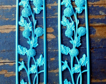 Upcycled Blue Plastic Floral Wall Decor Shabby Chic Romantic Vintage Vtg