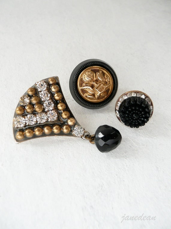 3 Glam Military Style Pins - recycled vintage jewelry parts and buttons