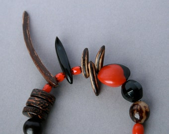 ethnic statement bracelet with natural seeds, nuts, wood and horn beads - nature jewelry - bohemian chic