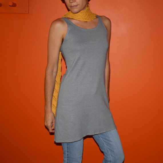 tank dress - 100% hemp and organic cotton hand dyed in charcoal gray - small