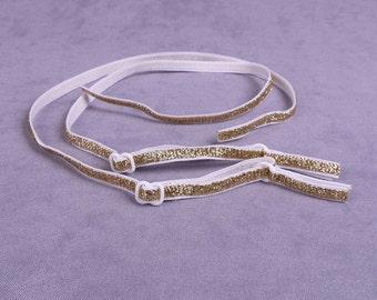 White and Gold Bra Straps - 5 Pairs (ST14WG-10)