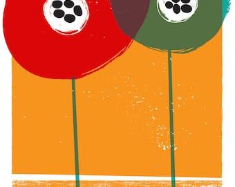 Giclee Poppies - Flower Art Print  - Modern Flowers illustration