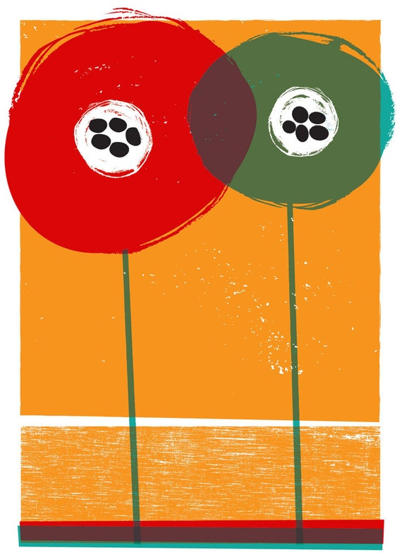 Giclee Poppies - Flower Art Print  - Modern Flowers illustration