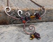 Autumn Branch Necklace ... Wire Wrapped Copper Branch with Autumn Leaf Gemstones