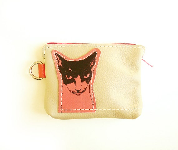 Cat Coin Purse in Grey Leather