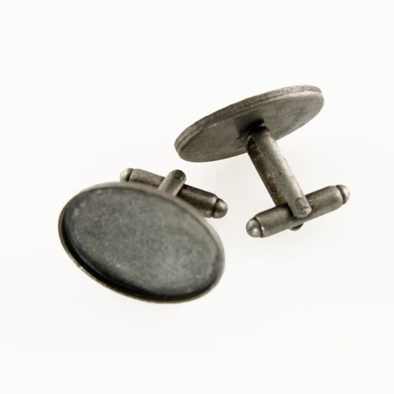 Mens Cufflinks, Photo Cufflinks, Photo Cuff Links - DIY Cufflink Blanks, Cuff Link Blanks - ANTIQUE SILVER - Great For Photos & Resin