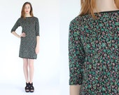 vintage 90s pixelated floral print knit dress / cozy printed mini dress