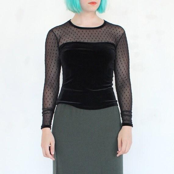 vintage 90's SHEER DOT mesh black goth fitted velvet top