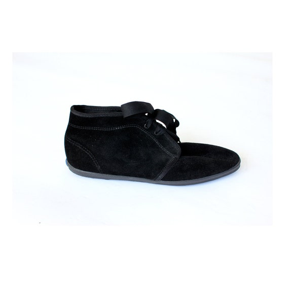vintage 90's black suede leather RIBBON KEDS flat ankle boot shoes