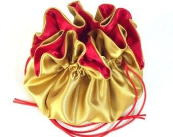 Wedding Bag Satin Bridal Money Purse Gold and Red No Pockets