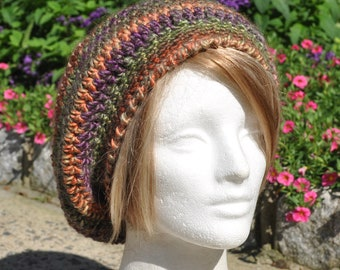 Slouchy Crocheted Hat - Crocheted Beret - Tam, multicolored beret - Woman's hat