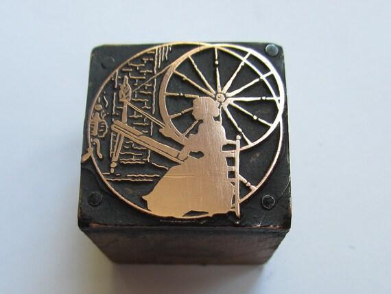 Vintage Letterpress Printers Block Woman at the Spinning Wheel