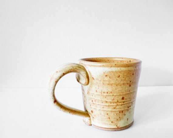 Pottery cup handmade mug - pumpkin brown glaze for autumn fall