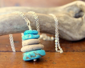 Turquoise and Stone Cairn Necklace - beach stone necklace - turquoise necklace - zen - Cairn Jewelry - bohemian jewelry