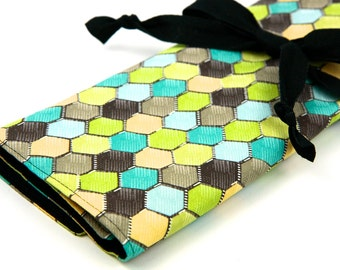 Knitting Needle Case - Honeycomb Retro - IN STOCK Large Organizer 30 black pockets for circular, straight, dpn,