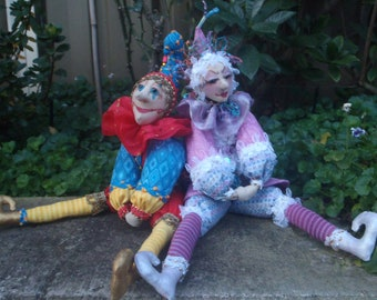 E- PATTERN- Tuturial to make 2 Beani JESTERS- Leo & Lilli, Instructional, Cloth Dolls, Workshops, PDF, michelle munzone, create, diy,