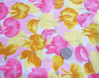 70s Vintage Floral Linen Fabric Pink Yellow Decorator Weight 1.5 Yards