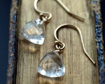 Quartz Pyramid Earrings, Clear Quartz Earrings, Rock Crystal Earrings, Wedding Jewelry, for a Bride, 14k Gold Filled, Gemstone Triangle