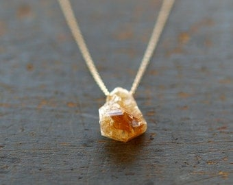 Raw Citrine Necklace, Raw Stone, 14k Gold Filled, November Birthstone, Boho Style Necklace, Rough Gemstone Jewelry, Crystal Point
