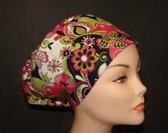 New Jacqueline Floral Pink Medical Surgical Scrub Hat Vet Nurse Chemo