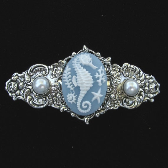 Hair Barrette Blue and White Seahorse Cameo with Faux Pearl Accents