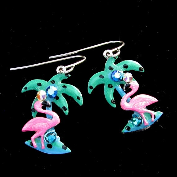 Pink Flamingo and Palm Tree Tropical  Hand Painted Earrings