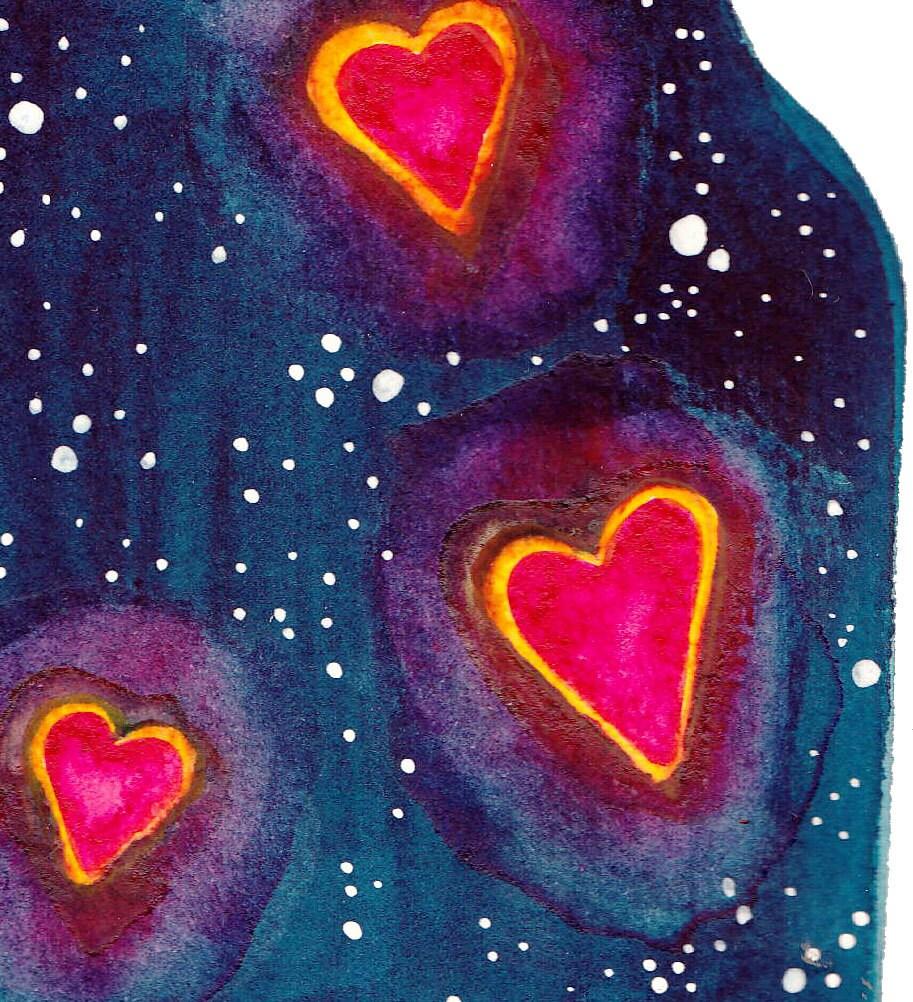 Watercolor Jar of Hearts Modern Whimsical Art Print of painting