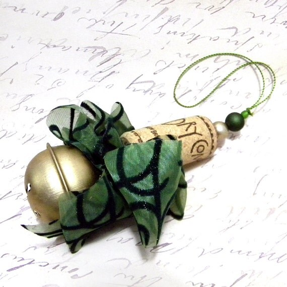 Six Green and Brushed Gold  Recycled Corkament Christmas Ornaments