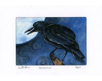 Crow corvus in front of full moon print 3 of 250