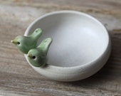 Sweet Little Light Green Love Birds on a White Bowl - Handmade Pottery
