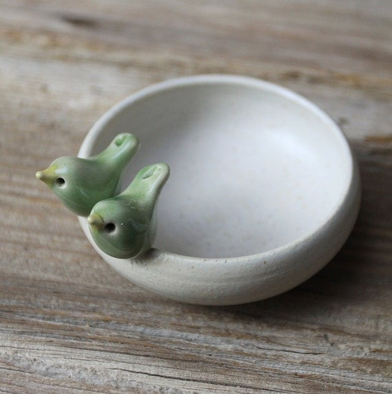 Sweet Little Light Green Love Birds on a White Bowl - Handmade Pottery