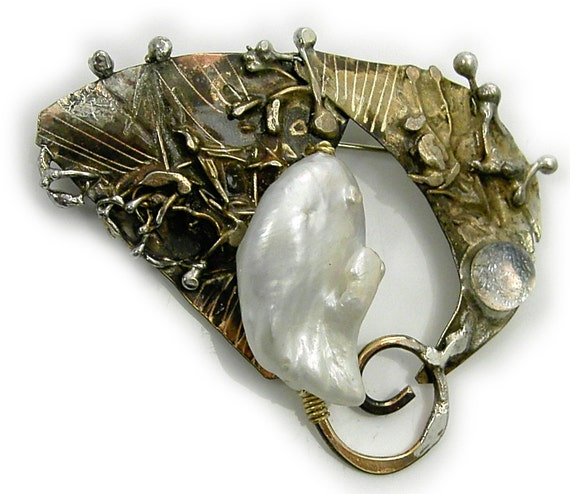 Wildpearl  and dichroic    Pin  Brooch  in Sterling Married Metals by Cathleen McLain McLainJewelry  wildpearl1201