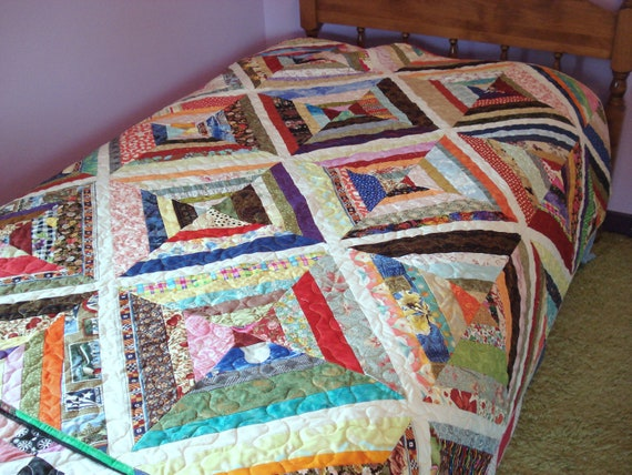 Scrappy Strings Patchwork Lap Quilt