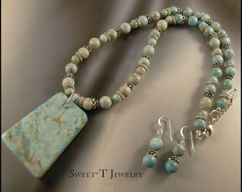 Turquoise Jasper and Sterling Silver Necklace