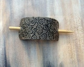 Leather Hair Clip. Hair Stick, Smoke Black with Vines and Leaves