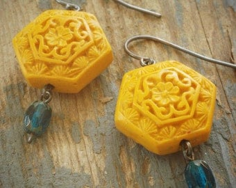 mustard gold yellow cinnabar and teal czech glass earrings on oxidized sterling silver by val b.