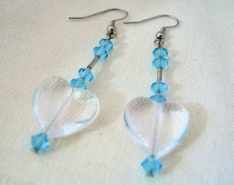 SALE-Fancy Crystal Hearts Earrings by Diana