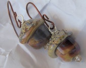 fall dark acorn lampwork bead earrings